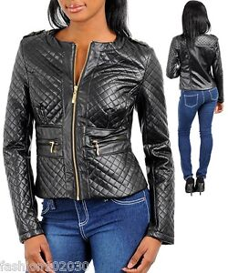 Chic-Stylish-Black-Quilted-Form-Fitting-Leather-Look-Motorcycle-Jacket
