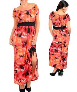 SeXY WoMeNS PLuS SiZe oN oFF SHouLDeR Tie DYe oMBRe LoNG MaXi SuMMeR SuN DReSS