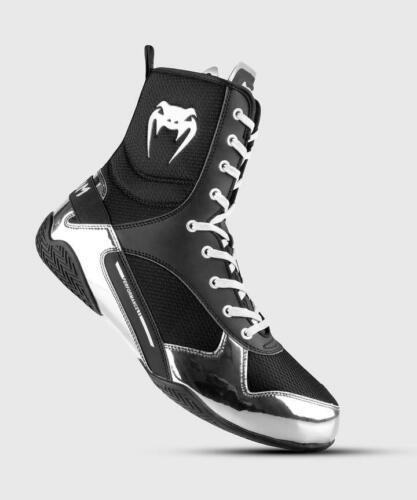 Venum Elite Professional Boxing Shoes - Black/Silver - Size 6 US - Men
