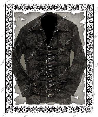Steampunk Clothing Gothic Western Crown Skulls Men's Denim Buckle Jacket  M / L (Steampunk Clothing Men)