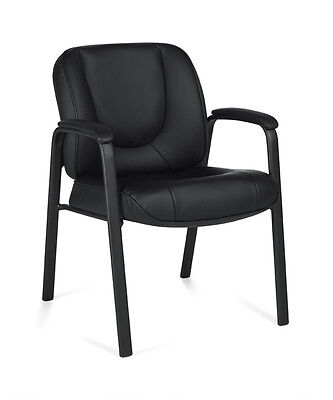 Black Leather Padded Arms Guest Office Desk Chair