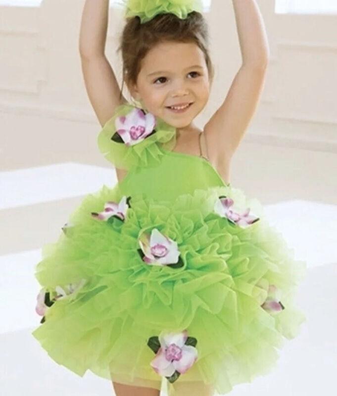 Revolution Dance Green Flower Patch Tutu Ballet Costume Girls Size M CM Child