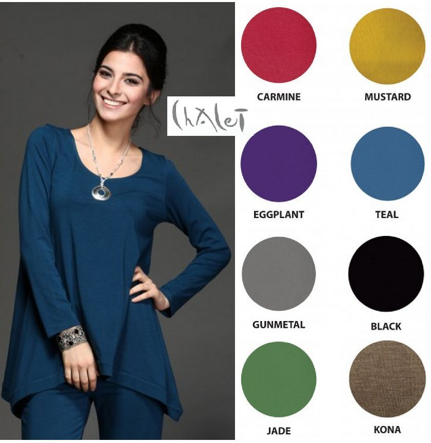 4dec9e6257e CHALET USA Bamboo Jersey TAMMY TUNIC Flare Banded Hem Top XS S M L XL FALL  2015