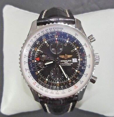 Breitling Navitimer World GMT Automatic Chronograph Black Dial Mens Watch A24322