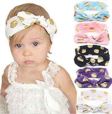 12 Colors Lovely Baby Girl Kids Knotted Head Wraps Rabbit Ear Polka Dot Headband