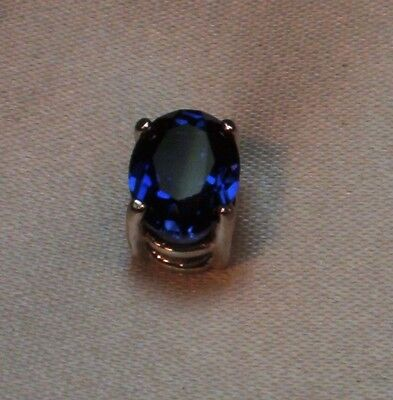 1.5 CT CREATED OVAL ROYAL BLUE SAPPHIRE MENS SILVER TIE TACK PIN NR