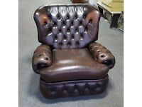VINTAGE Chesterfield Thomas Lloyd Brown Leather Recliner Armchair.WE DELIVER