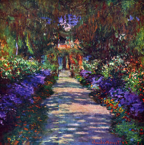 Garden at Giverny   by Claude Monet  Giclee Canvas Print  Repro