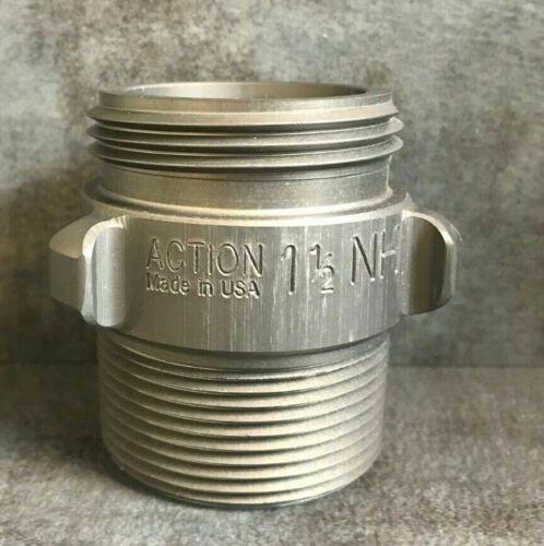 """Aluminum Fire Hose Adapter, 1.5"""" M.NST(NH) x 1.5"""" M.NPT Rocker Lug"""