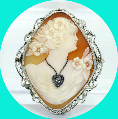 """Antique diamond cameo brooch pin pendant 14K WG carved shell unique .03CT 1 5/8"""""""