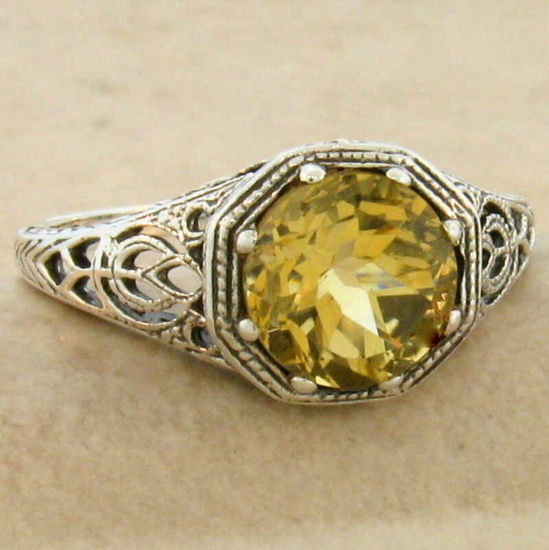 GENUINE CITRINE ART DECO 925 STERLING SILVER ANTIQUE STYLE RING SIZE 9,     #845