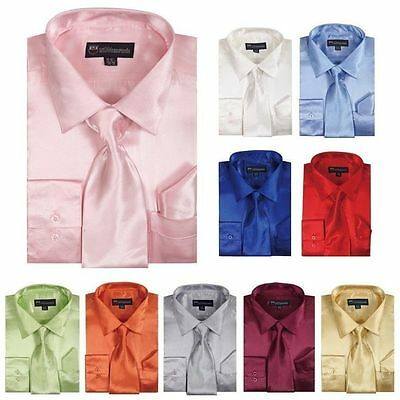 Formal Shirts Ties - Men's Shiny Satin Polyester Formal Dress Shirt w/ Tie and Hanky Set #08 Solid