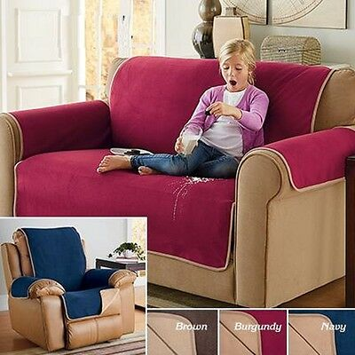 Fleece Waterproof Reversible Protector Cover Sofa Recliner Wing Loveseat XL (Fleece Recliner Cover)