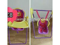 Peppa pig swing and high chair