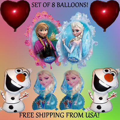 8-Piece Frozen Balloon Set - PRINCESS ELSA ANNA OLAF Birthday Party Decorations