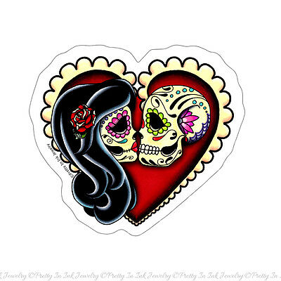 Ashes Sticker Day of the Dead Lovers Sugar Skulls Kissing Couple in Heart Decal