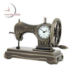 SEWING MACHINE Vintage Style Collectible Miniature Desktop Clock
