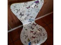 Botanical occasional chair with Alice in Wonderland hand decorated by Andyman upcycling from Jarrow