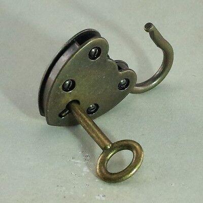 Vintage Antique Style Padlock Key Lock Heart Shape(Antique Bronze Color)Lot of 3
