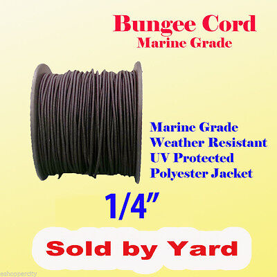 "1/4"" x  Sold By Yard Premium Marine Grade Bungee Shock Stretch Cord UV Black"
