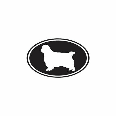 Clumber Spaniel Oval Dog - Decal Sticker - Multiple Colors & Sizes - ebn3650