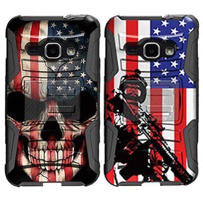 For Samsung Galaxy J Series Phone Case Hybrid Holster Clip Armor Black US Flag ()