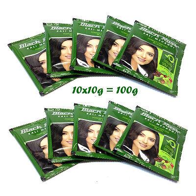 Black Rose Kali Mehndi Black Henna Hair Dye Powder Mehandi (10 x 10 gram) Black Rose Hair Dye