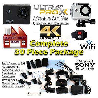 Adventure Cam Elite 4K UHD Waterproof Action Camera w/Remote & GoPro Acc kit