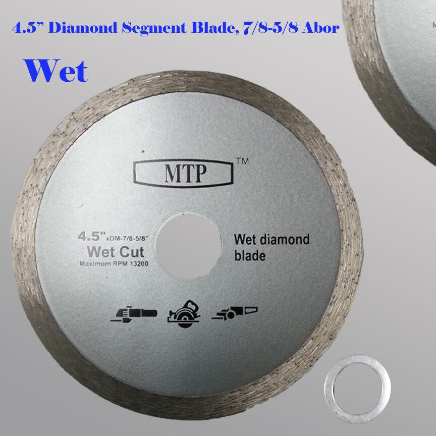 "4.5/"" Wet Diamond Continuous Rim Saw Blade 7//8-5//8 Abor w// 5//8 Reducer Stone"