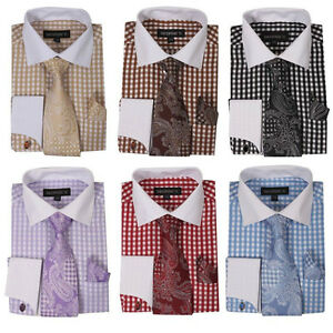 Mens-Checkered-Pattern-Dress-Shirt-French-Cuff-With-Matching-Cuff-links-15-20