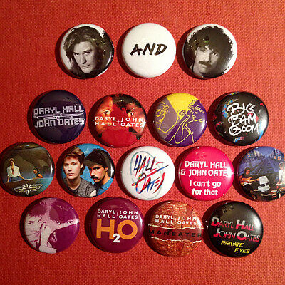 """16 Hall & Oates 1"""" Buttons - FREE SHIPPING! - Rich Girl Maneater Kiss On My List"""