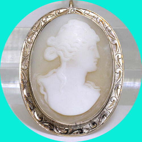 """Antique estate cameo pin pendant brooch rose gold ornate carved shell  1 3/8"""" L"""