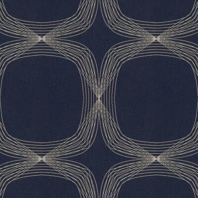 Navy Blue Arc (Arc/com Kinetic Blueberry Navy Blue Large Modern Geometric Upholstery Fabric)