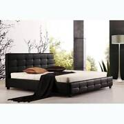BRAND NEW Black/White PU Leather Bed Frame ALL size - TOMMY Caulfield Glen Eira Area Preview