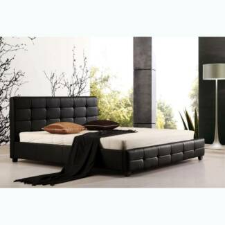 BRAND NEW Black/White PU Leather Bed Frame ALL size - TOMMY
