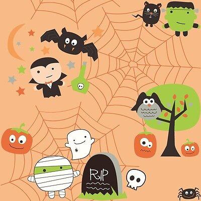 Boo To You Orange Boo Scene, Riley Blake, 1/2 yard 100% cotton fabric (Halloween 1 Scenes)