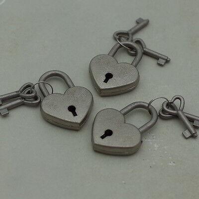 Vintage Style Mini Padlock Key Lock Heart Shaped (Antique Silver Color) Lot of 3