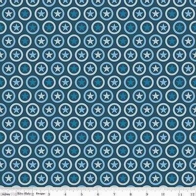 Navy Sterne (Stars Circle Navy Sterne Patchworkstoffe Baumwolle Stoffe Kinderstoffe Patchwork)