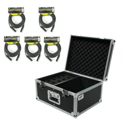 OSP Mic ATA Flight Road Case Holds 15 Microphones w/Storage & 5 XLR Cables 25