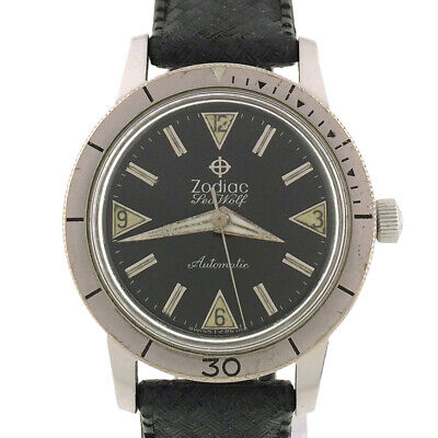 VINTAGE ZODIAC SEA WOLF AUTOMATIC DIVER WATCH MILITARY 1960s, 17J 72B, RUNS WELL