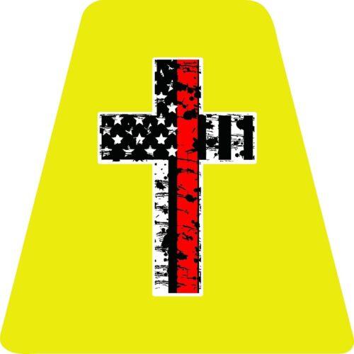 Thin Red Line Cross - YELLOW TETS TETRAHEDRONS HELMET STICKER FIRE REFLECTIVE