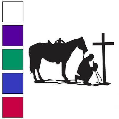 Cowboy Horse Prayer Cross Decal Sticker Choose Color + Size - Cross Stickers
