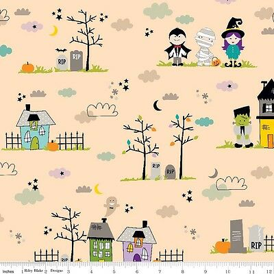By 1/2 Yard Riley Blake Fabric - Halloween Magic Main Orange haunted house scene - Halloween Yard Haunt