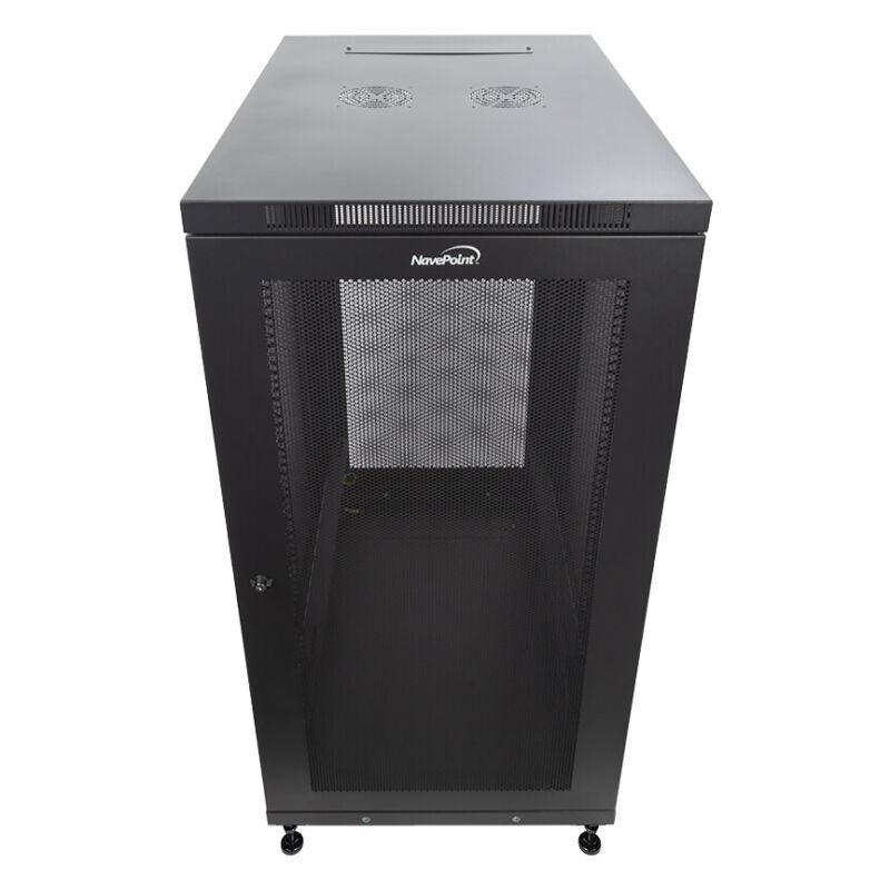"24U Server Data Cabinet Rack Enclosure Mid Depth 33"" Deep Perforated Door Lock"