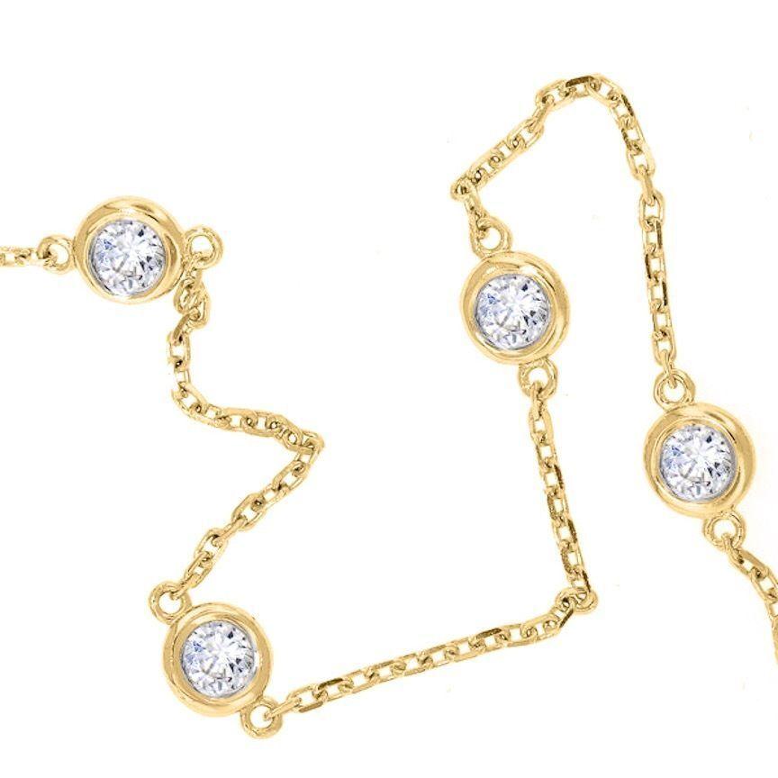 1 TCW Diamond By The Yard Station Bracelet Man Made 14k White Yellow Gold D IF 5