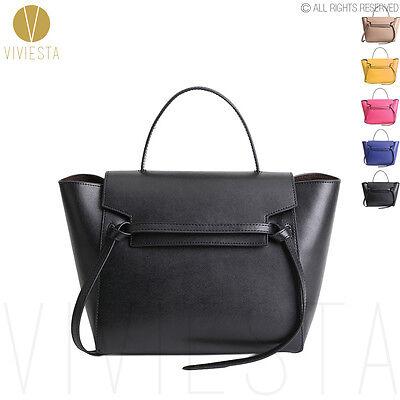 - Women's Genuine Leather Belt Knot Large Designer Inspired Trapeze Phantom Bag