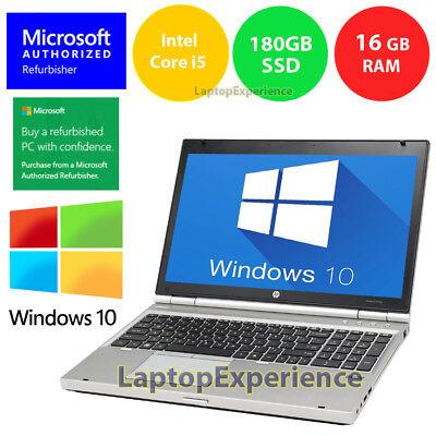 Hp Laptop Windows 10 Pc Core I5 2 5Ghz 16Gb Ram 180Gb Ssd 15 6  Dvdrw Notebook