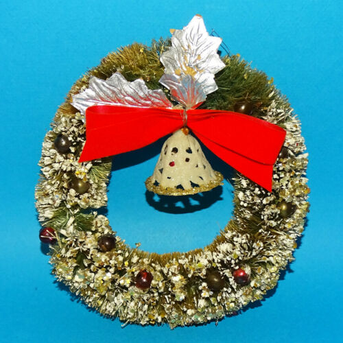 Vintage Flocked Bottle Brush Christmas Wreath with Bow Silver Leaves Bell 5.5 In