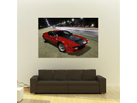 Poster of Ferrari Blue Dino Giant Classic Super Car Huge Print 54x36 Inches