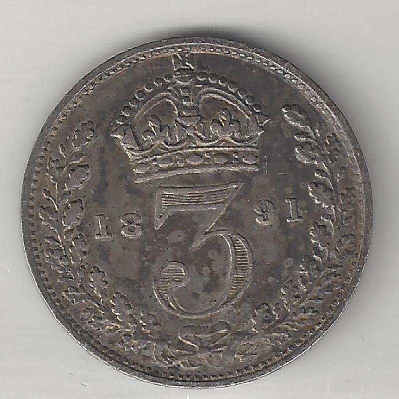 GREAT BRITAIN,  1891,  3 PENCE, SILVER,  KM#758,   CHOICE EXTRA FINE